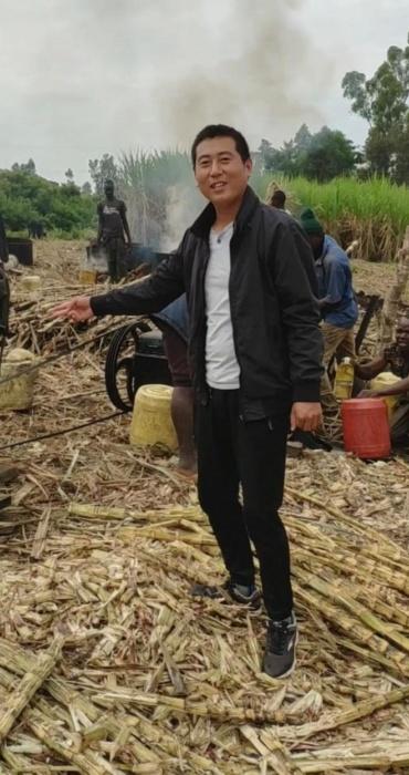 非洲肯尼亚的甘蔗地,现场加工制作红糖