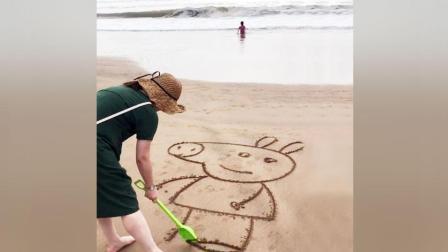 下次到海滩我也这样玩, 在沙滩上画这些, 太好玩了!