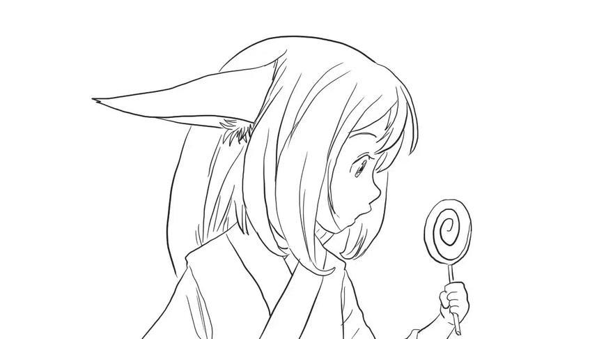 狐妖小红娘之涂山苏苏与棒棒糖儿童亲子简笔画