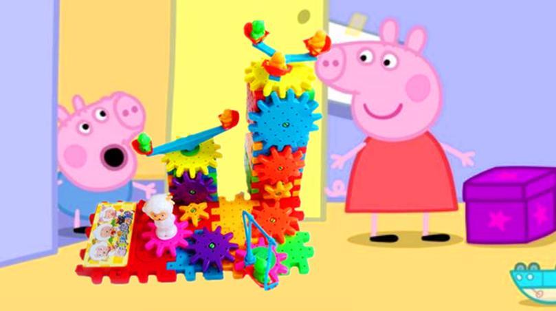 佩奇乔治猪爸爸猪妈妈用喜羊羊与灰太狼积木组装城堡