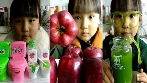 吃播小美女,吃马桶糖 红色苹果 果汁糖,等奇葩糖果