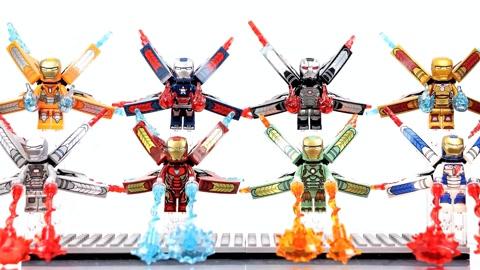 8个不同颜色的钢铁侠积木人偶非乐高官方积木