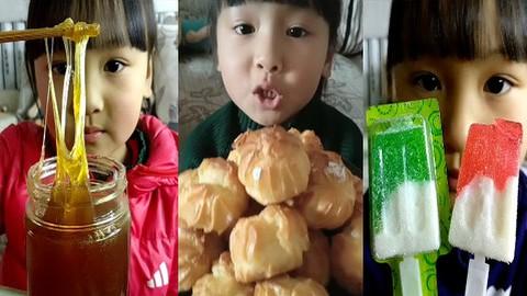 吃播小美女,吃冰淇淋软糖 面包 蜜蜂糖,等奇葩糖果