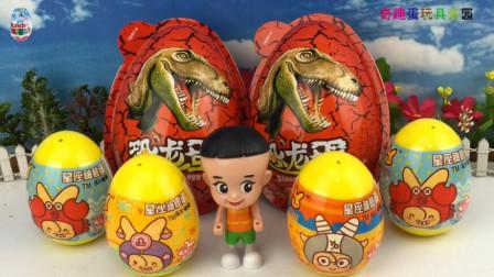 星座神秘蛋和恐龙玩具蛋!和大头儿子一起拆奇趣蛋玩吧!